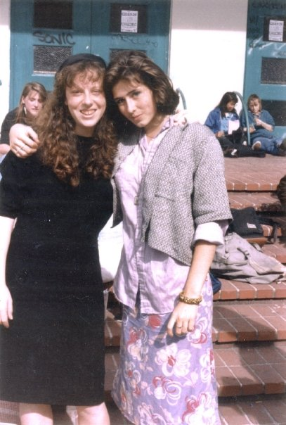Opera-singer Eliza O'Malley and Novelist and Writing Coach Elizabeth Stark at Berkeley High School. Yes, it was the eighties. How can you tell?